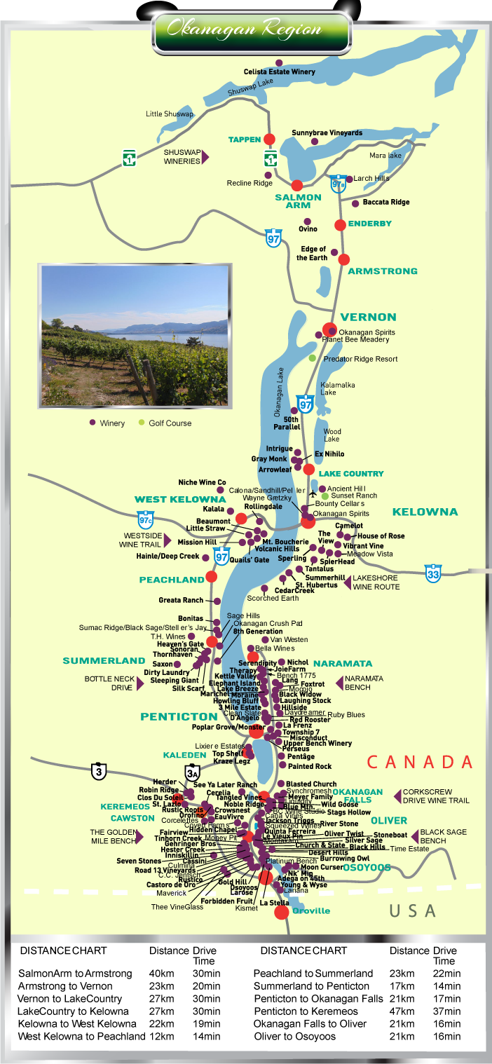 Okanagan Wine Tour Map